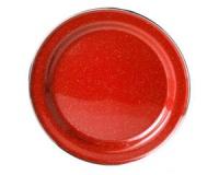 Тарелка эмалированная с ободком GSI Plate Stainless Rim 10.375 red