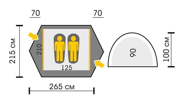 Схема Палатка Talberg Camo 2 Pro